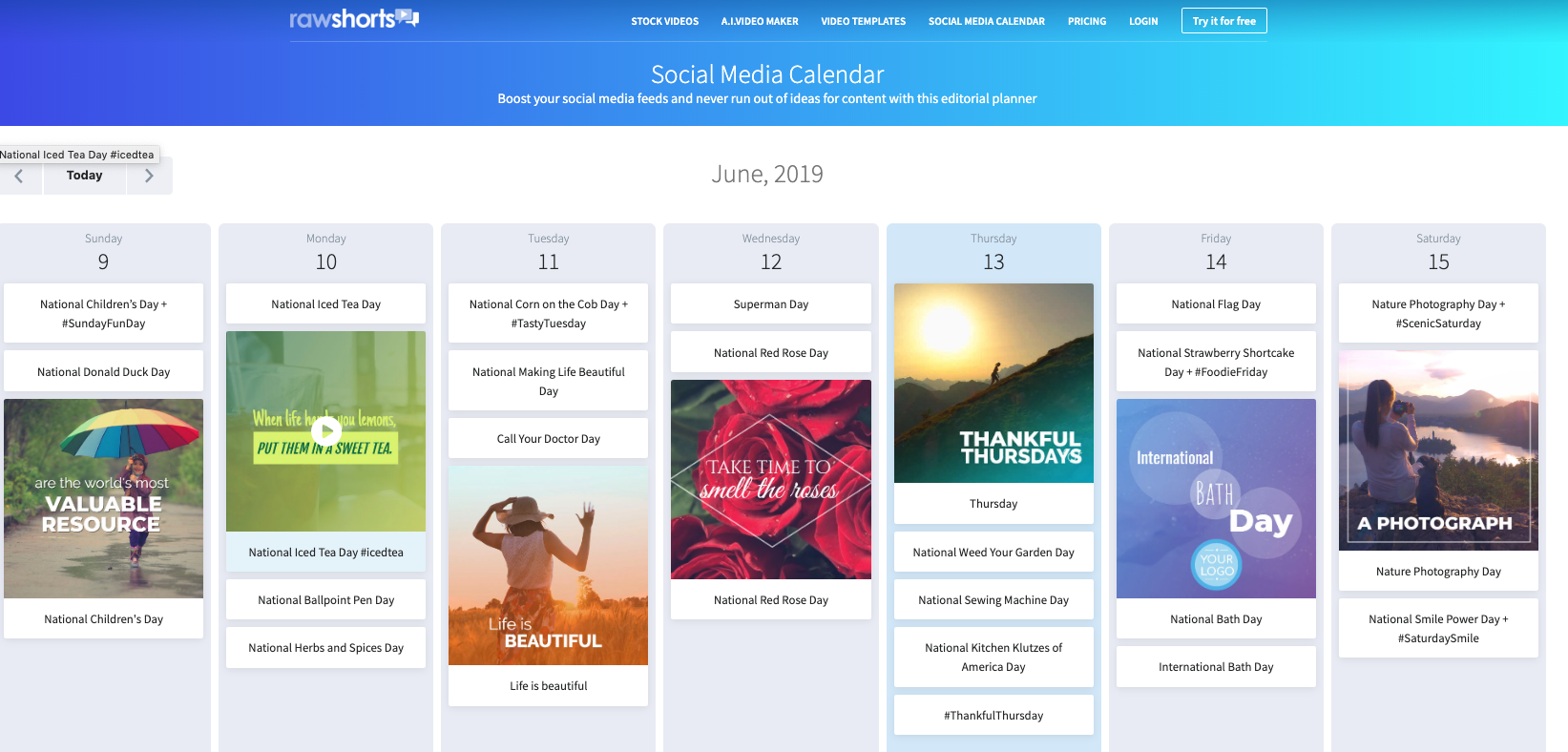Sneak preview of the Raw Shorts social media calendar
