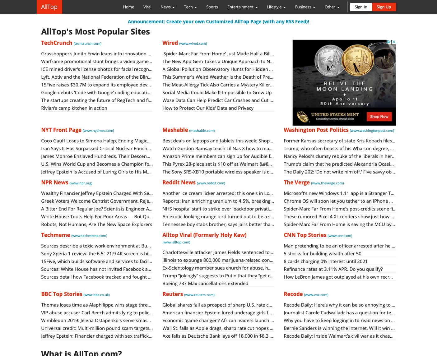 AllTop most popular sites for backlinkg