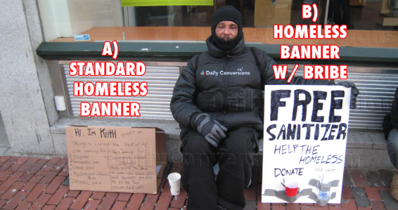 Homeless man using neuromarketing technique to get more money