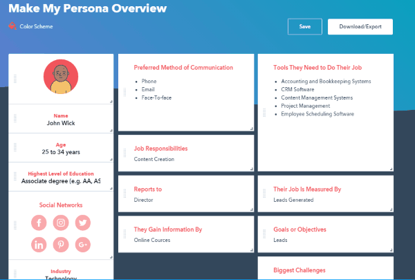 This is the make my persona tool from hubspot