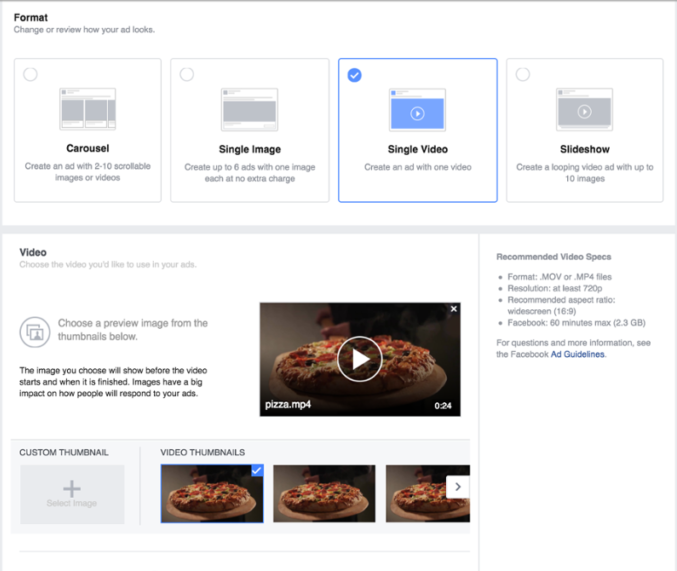 choosing a great facebook ad video thumnail