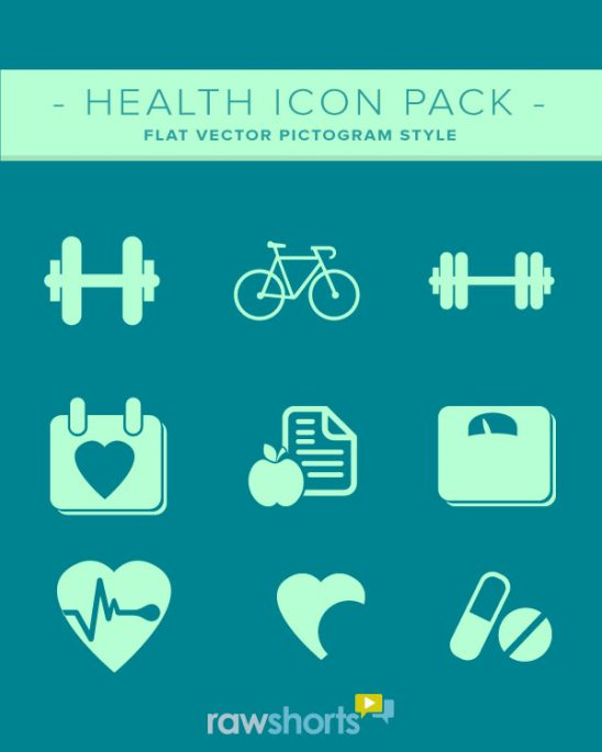 health icons - flat vector style