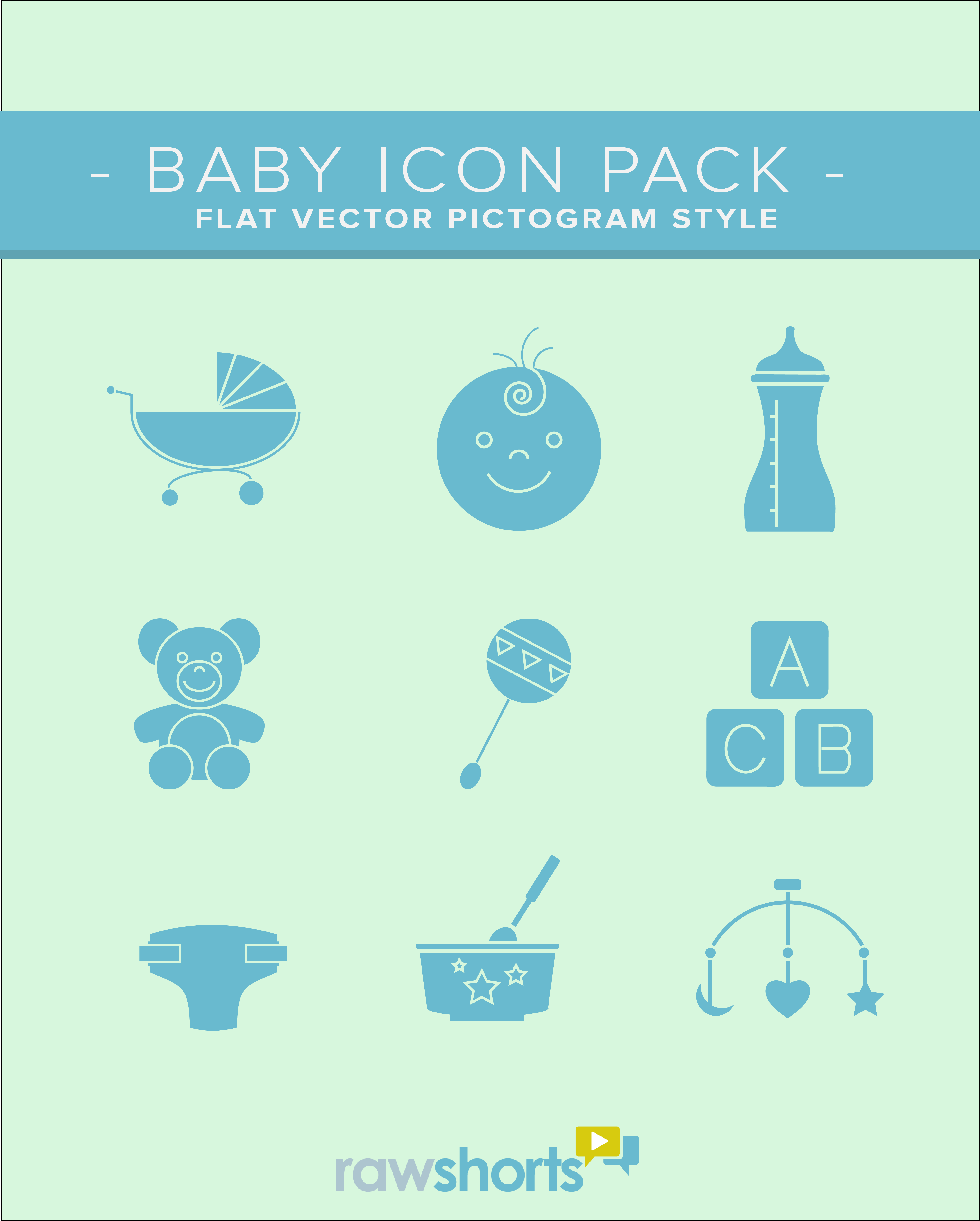 Baby and Newborn Flat Vector Icon Pack